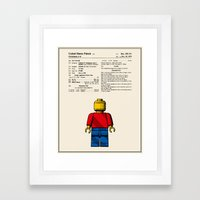 Lego Man Patent - Colour (v1) Framed Art Print