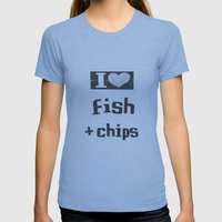 I ♥ Fish And Chips - Dark Gray Womens Fitted Tee Athletic Blue SMALL