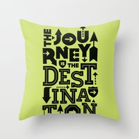 Green Journey Quote Throw Pillow