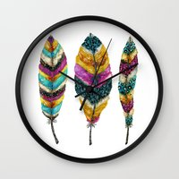 Midnight Feather Trio. Candy Colored Edition Wall Clock