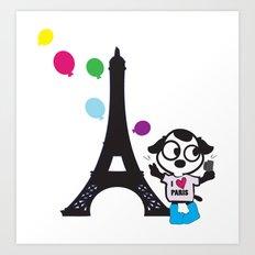 Puppy selfie in PARIS Art Print