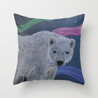Throw Pillow featuring Polar Bear by Renee Trudell