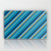 Blue multicolor geometric pattern with diagonal lines Laptop & iPad Skin
