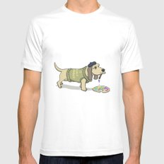 A Painting Dog White SMALL Mens Fitted Tee
