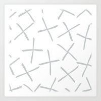 BIG GRAY WHITE CROSSES Art Print