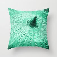 Jade Green Silk Chinese umbrella Throw Pillow