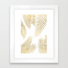 Gold palm leaves Framed Art Print