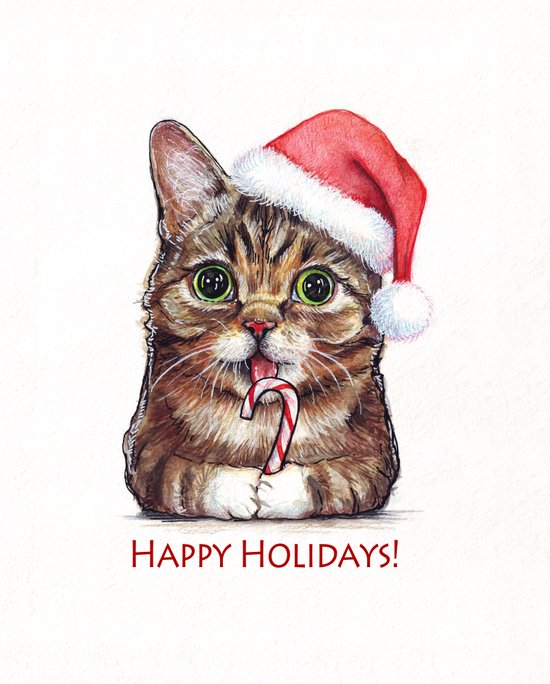 Lil Bub in Santa Hat with Candy Cane - Happy Holidays Art Print