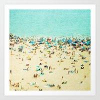 retro Art Prints featuring Coney Island Beach by Mina Teslaru