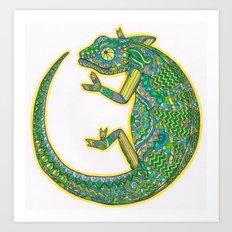 Quirky Chameleon Art Print