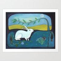Rabbit in Moonlight Art Print