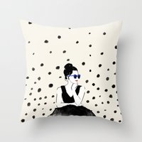 Polka Rain III Throw Pillow