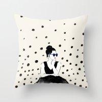 Polka Rain III Throw Pillow