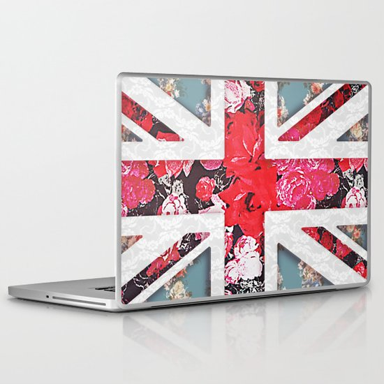 God save the Queen | Elegant girly red floral & lace Union Jack  Laptop & iPad Skin