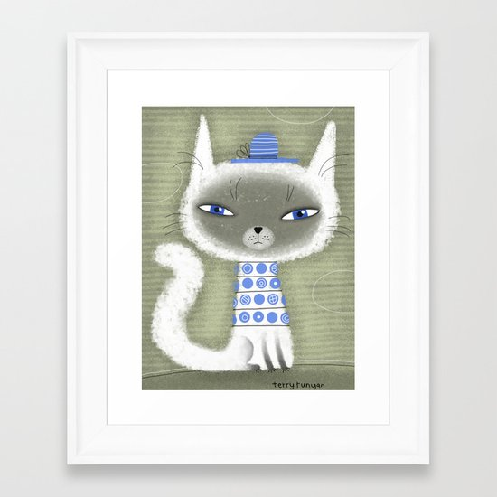 BLUE ADORNMENTS Framed Art Print