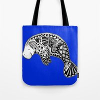 Blue Manatee Tote Bag