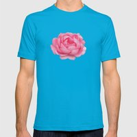 Rose on mint Mens Fitted Tee Teal SMALL