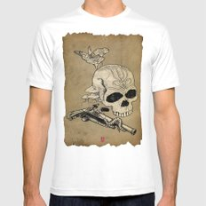 Skull Two SMALL White Mens Fitted Tee