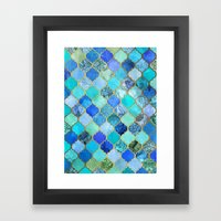 Cobalt Blue, Aqua & Gold… Framed Art Print