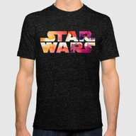 Star Wars Watercolor Gap Mens Fitted Tee Tri-Black SMALL