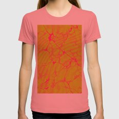 Marble Splash Womens Fitted Tee Pomegranate SMALL