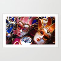 Colourful Masks Art Print