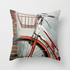 Red bicycle Throw Pillow
