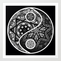 Yin Yang Zentangle Art Print