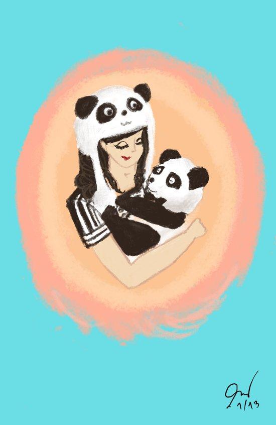 Panda & Jess Art Print
