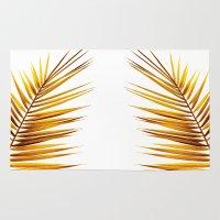 golden palm leaf II Rug