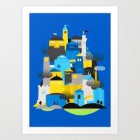 Magic Town - Blue Art Print