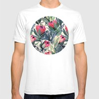 Painted Protea Pattern Mens Fitted Tee White SMALL