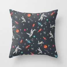 Spaceships, planets and Astronaut Throw Pillow