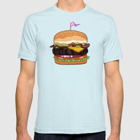 Bacon Cheeseburger Mens Fitted Tee Light Blue SMALL