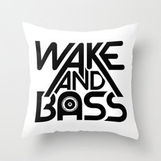 Wake And Bass (Black) Throw Pillow