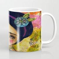 Frida In An Orange And Pink Dress Mug
