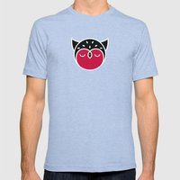 Owl Pattern Mens Fitted Tee Tri-Blue SMALL