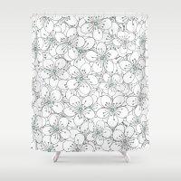 Cherry Blossom Mint Shower Curtain