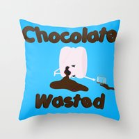 Chocolate Wasted (blue) Throw Pillow