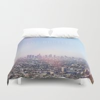 Los Angeles Skyline Typography  Duvet Cover