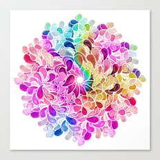 Rainbow Watercolor Paisley Floral Canvas Print
