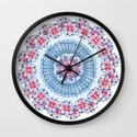Red, Blue & White Floral Medallion Wall Clock