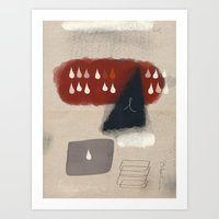 Blue Rain with Burgundy and Cream Clouds Art Print