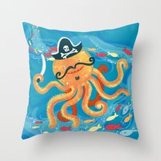 OctoPirate Throw Pillow