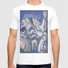 Pattern Fish White Mens Fitted Tee SMALL