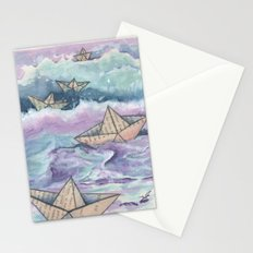 Paper ships and sea Stationery Cards