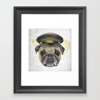 Pug Commander  Framed Art Print