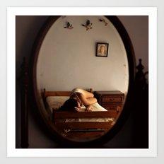 Reflection of Girl in Bedroom Art Print