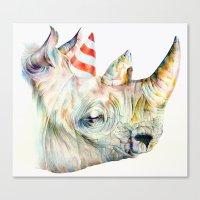 Rhino's Party Canvas Print