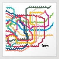 Tokyo Subway Map Square Art Print